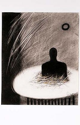 Pedro Pacheco   Lonely Place 2 , 1999   charcoal on paper, 10 x 10 inches
