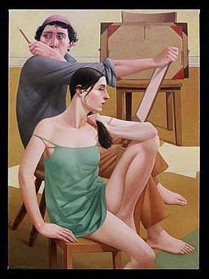 Alan Feltus   The Painter and His Muse , 2000   oil, 43 3/8 x 31 1/2 inches
