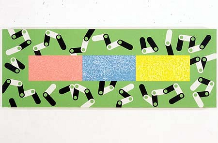 Susan Elias   Cell Boogie Woogie , 1996   acrylic on canvas, 22 x 60 inches