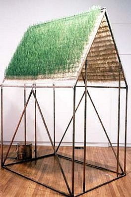 Michele Brody   Seeing Below from Above , 2002   copper pipe, plexiglass, hand-made paper, grass seeds, water, 102 x 60 x 72 inches   installation