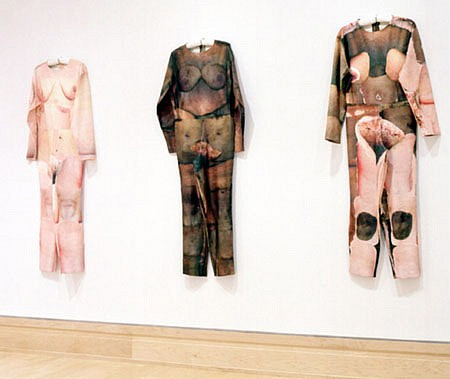 Elia Alba   If I Were A... , 2003   photocopy transfer over muslin, acrylic and thread, Lenth of each suit- 65 inches