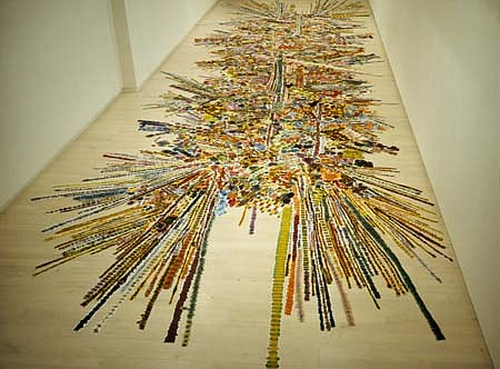 Polly Apfelbaum   Single Gun Theory , 2001   fabric, dye, 360 x 90 inches