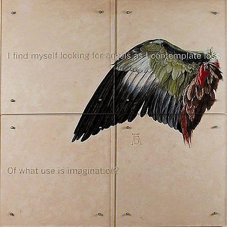 Kenneth Aptekar   I Find Myself , 2000   oil on wood, sandblasted glass, bolts, four panels, 60 x 60 inches   Text in Glass: I find myself looking for angels as I contemplate loss. Of what use is imagination?