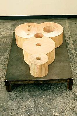 Polly Apfelbaum   The Mickey Mocker , 1988   wood, steel base, 12 x 24 x 32 inches