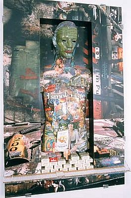 Patricia Atlas   Male Product , 1996   wood, printed metal, photographs, plexi-glass, cigarettes, 53 x 34 x 8 inches