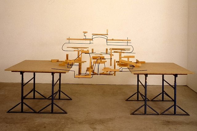 Charles Hewlings   Air and Other Elements , 1997   wood, steel, 169 x 366 x 135 cm