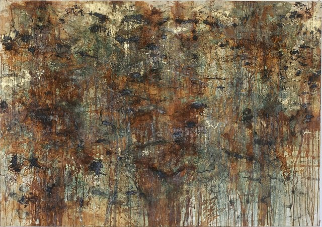 Tamas Kopasz   Fragments from the Golden Age No. 1 , 1985   bronze dust, bronze, acid on canvas, 165 x 235 cm