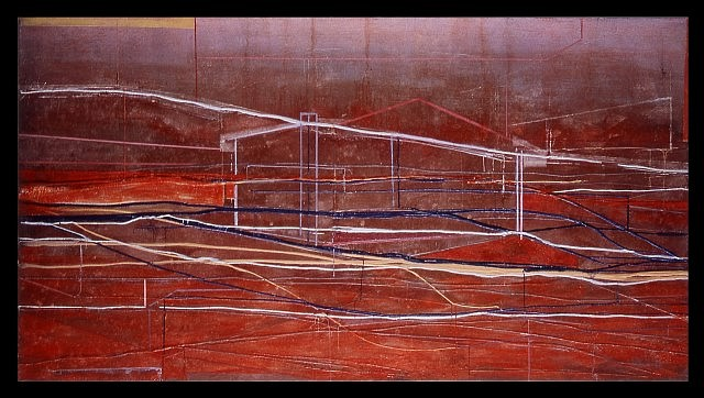 Marcus Andre   Red Landscape Light , 2003   encaustic on canvas, 47 1/4 x 86 5/8 in.