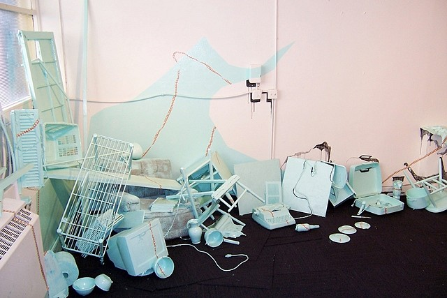 Julie Alpert   Hold on Tightly, Let Go Lightly , 2008   mixed media, 20 x 10 x 10 feet   site specific, mixed media installation