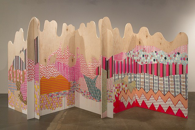 Julie Alpert   Folding Screen , 2013   paint and collage on maple, 13'x3'x6'
