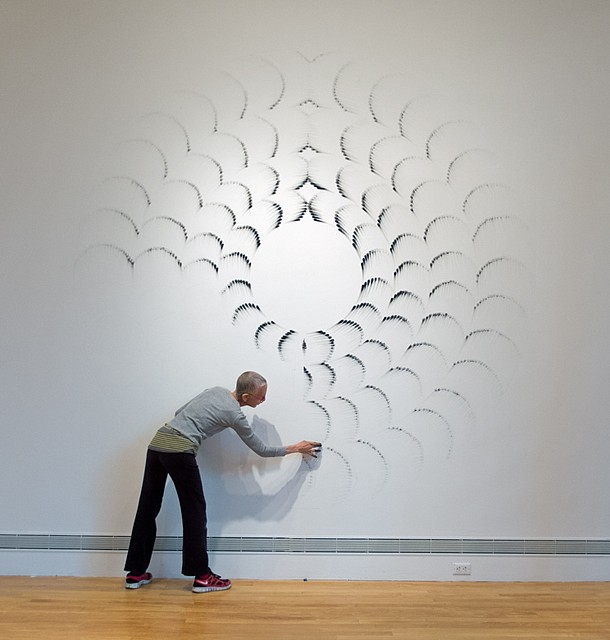 Judith Braun   Fingering #16 , 2013   charcoal applied with fingers on wall, 144 x 144 in.