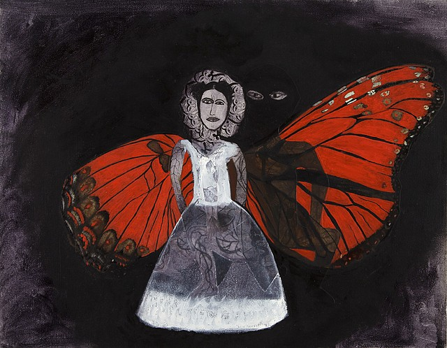 Samira Abbassy   Her Cadmium Wings , 2008   oil and collage on canvas, 14 x 18 in.