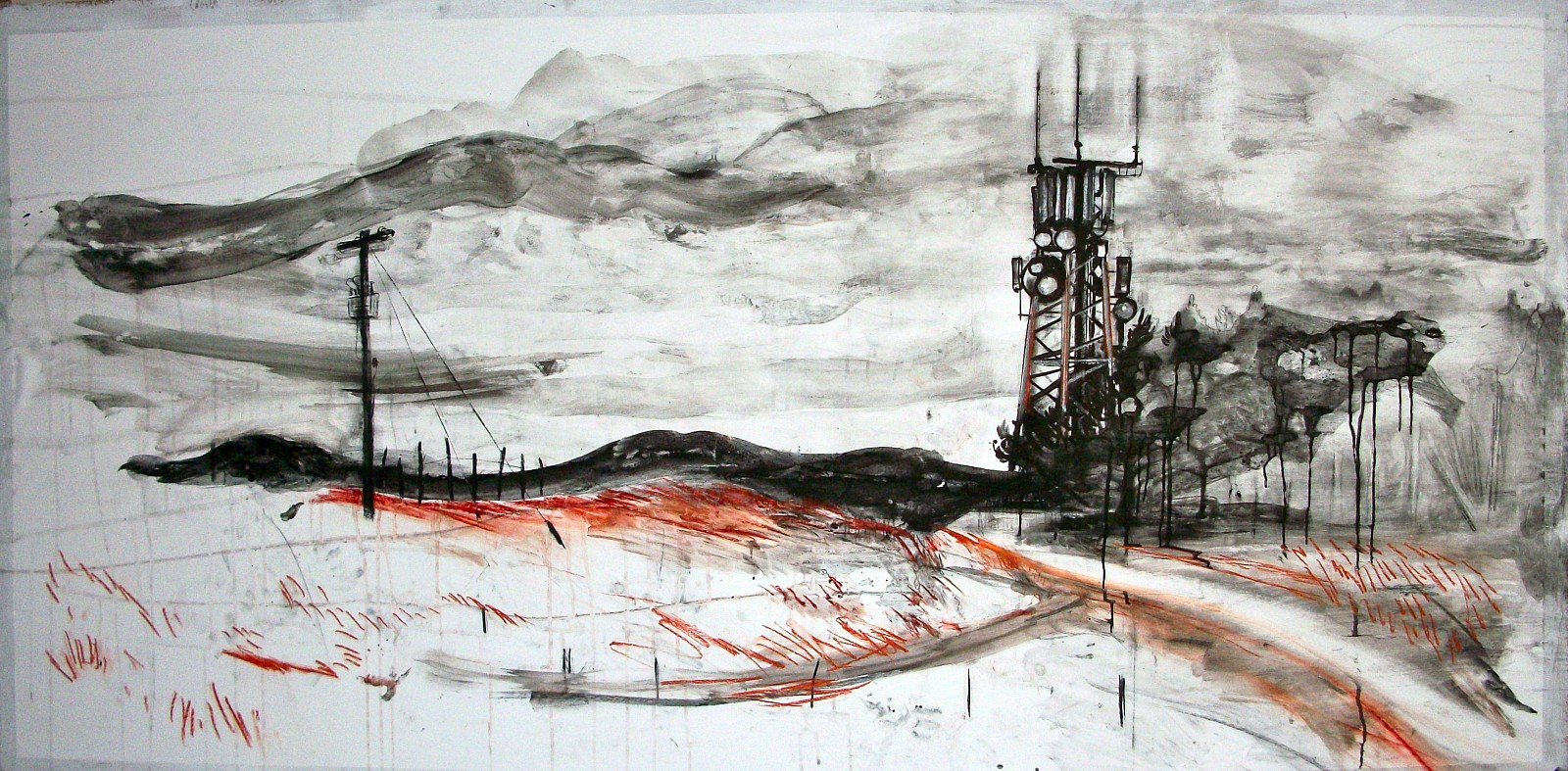 Andy Parsons   Landscape With Mobile Mast , 2011-12   charcoal, chalk, ink, conte crayon on gessoed paper, 48 x 106 in.
