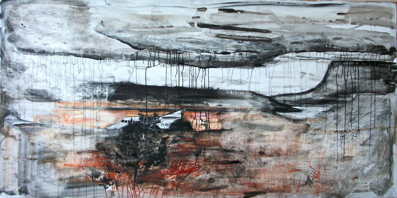 Andy Parsons   Landscape With Downed Plane , 2011-12   charcoal, chalk, ink, conte crayon on gessoed paper, 48 x 106 in.