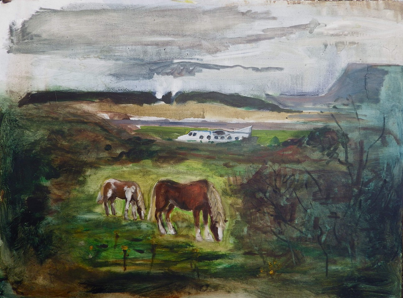 Andy Parsons   View of Standhill Airport from the Trading Estate , 2011-14   oil on canvas, 40 x 36 in.