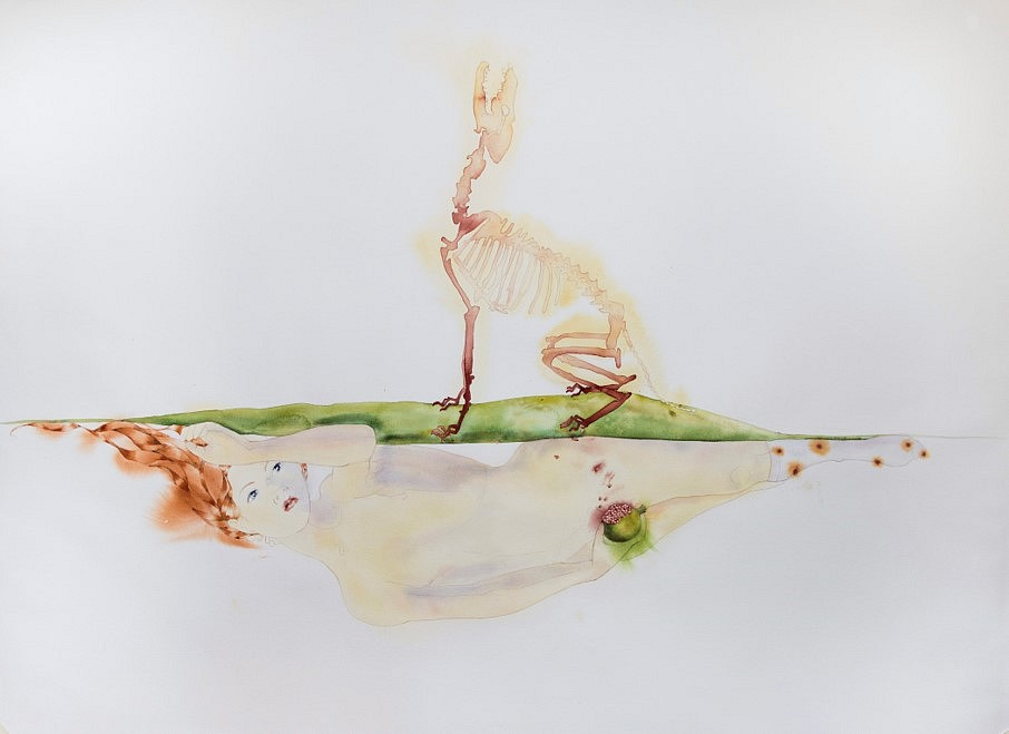Alejandra Alarcón   Persefone,'s Heart The Book of Blood , 2018   watercolor on paper, 160 x 120 cm
