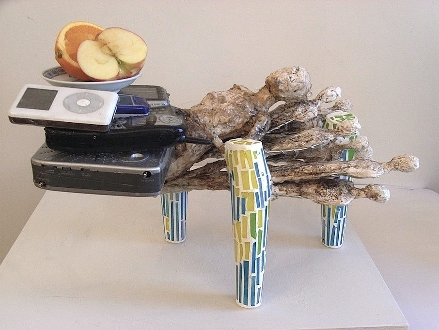 Thomas Bevan   Useful Object #2 , 2009   plaster, mosaic, found sculptures, found electronicas, dish, fruit, 19 x 12 x 11 in.